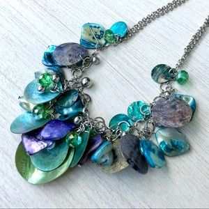 Blue Shell Beaded Necklace